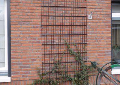 Paneel dubbel staafmat bevestigd aan muur tbv begroeiing